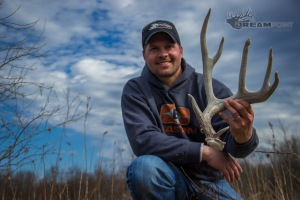 "Justin with a shed antler from ""Razor"". The giant shed scored 82 1/8"""